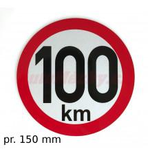 Omezení rychlosti 100 km retroreflexní pr. 150 mm (na přívěsy)