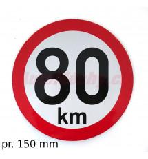Omezení rychlosti  80 km retroreflexní pr. 150 mm (na přívěsy)