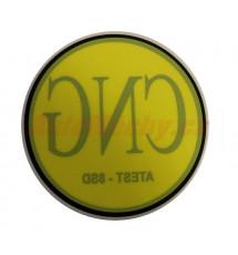 Značení CNG (ATEST-8SD) - samolepka vnitřní na sklo, prům. 71mm