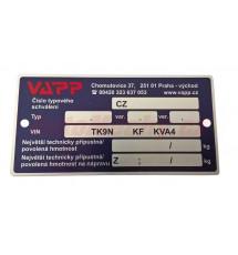 Výrobní štítek VAPP (r.v. 2003 - 2012 ) včetně ražby